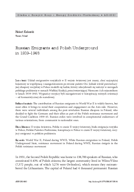 PDF) Russian Emigrants and Polish Underground in 1939–1948   Hubert