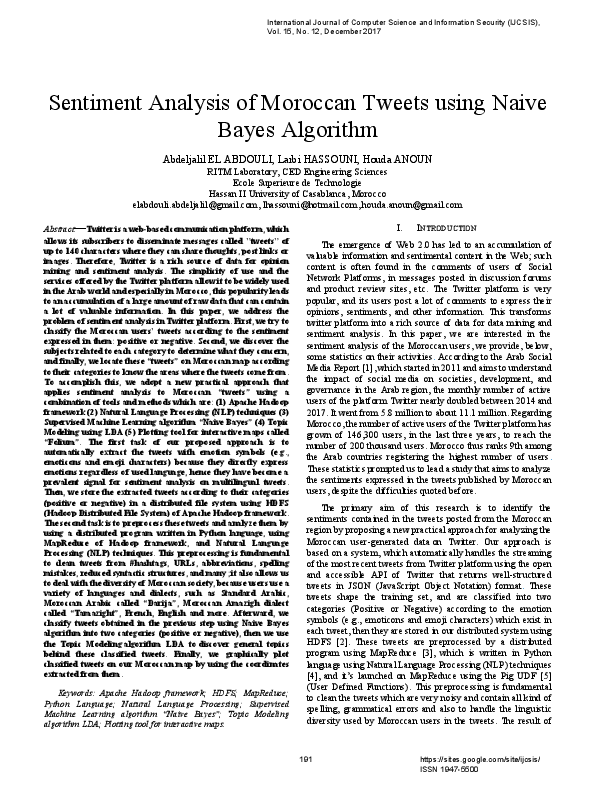 PDF) Sentiment Analysis of Moroccan Tweets using Naive Bayes