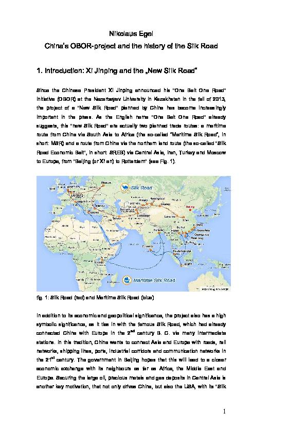 Pdf China S Obor Project And The History Of The Silk Road Pdf Nikolaus Egel Academia Edu