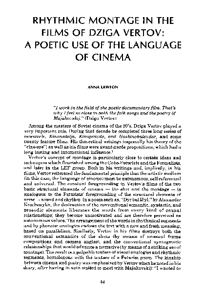 PDF) RHYTHMIC MONTAGE IN THE FILMS OF DZIGA VERTOV: A POETIC