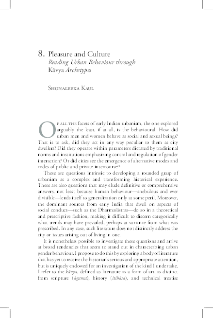 PDF) Pleasure and Culture_Urban Behaviour in Kavya Archetypes_ 2009