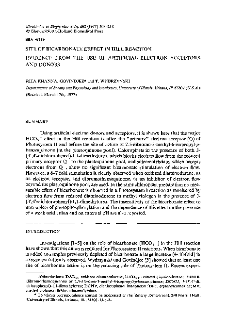 PDF) Site of bicarbonate effect in Hill reaction  Evidence