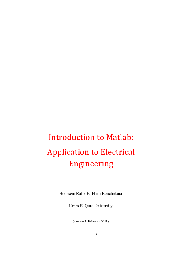 PDF) Introduction to Matlab: Application to Electrical