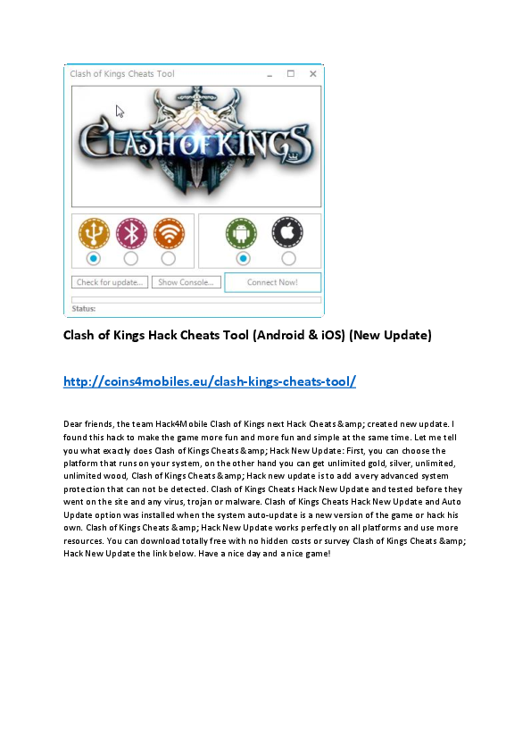 DOC) Clash of Kings Hack Cheats Tool (ANDROID & IOS) (LAST