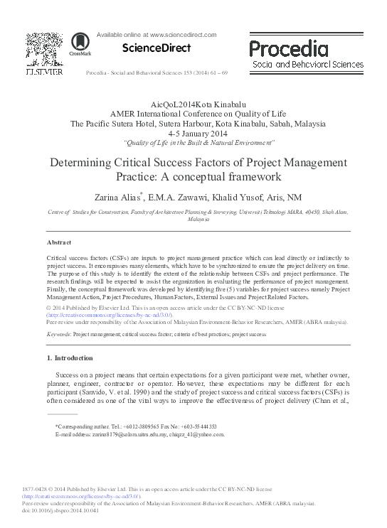 PDF) Determining Critical Success Factors of Project