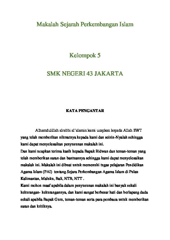 Doc Makalah Sejarah Perkembangan Islam Kelompok 5 Smk Negeri 43 Jakarta Rika Ramadani Academia Edu