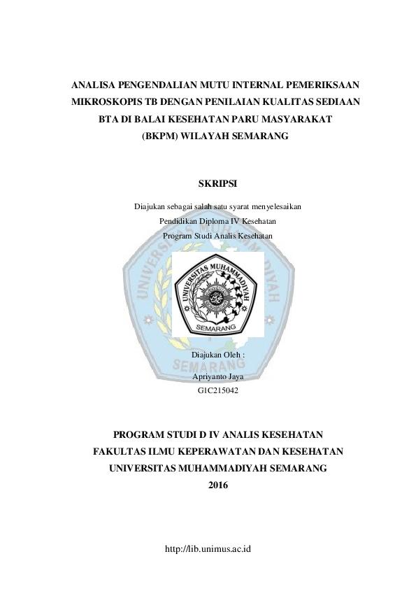 Pdf Program Studi D Iv Analis Kesehatan Siti Fauziah Academia Edu