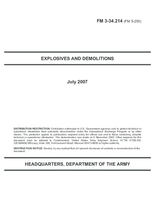 PDF) EXPLOSIVES AND DEMOLITIONS HEADQUARTERS, DEPARTMENT OF