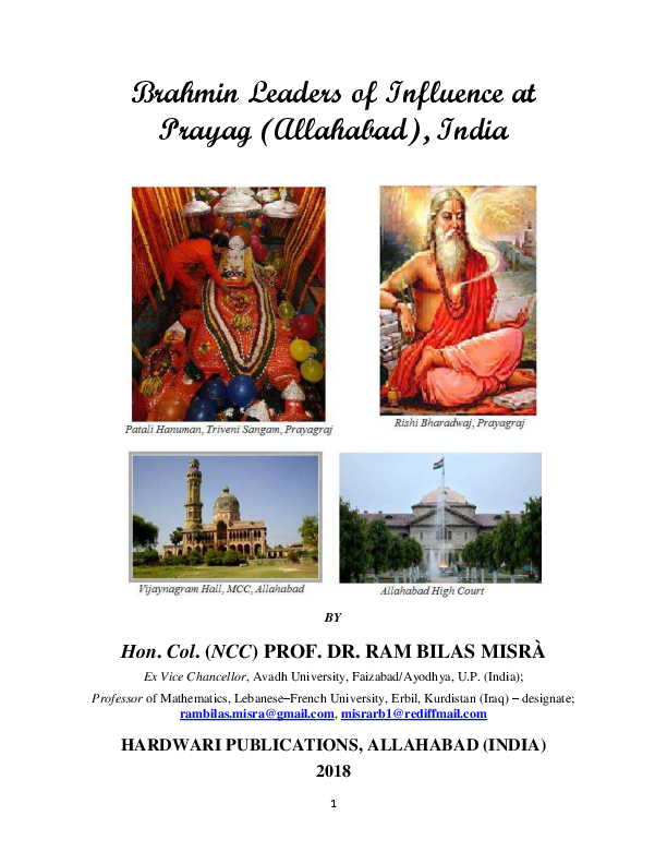 PDF) Brahmin Leaders of Influence at Prayag (Allahabad