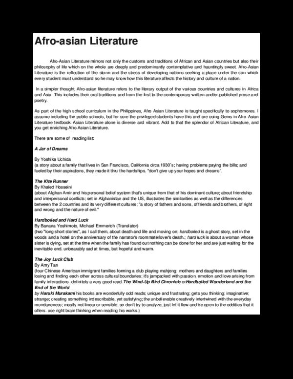 afro asian literature stories pdf