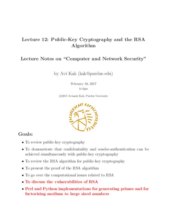 PDF) Lecture 12: Public-Key Cryptography and the RSA