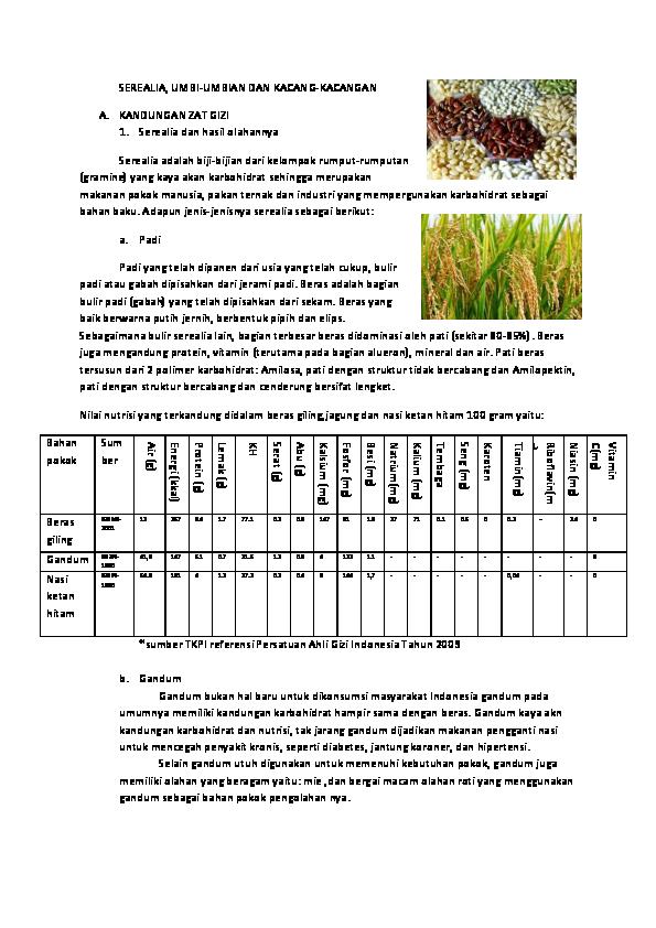 Doc Zat Gizi Serealia Kacang Hewani Buah Dan Sayur Addini Ranar