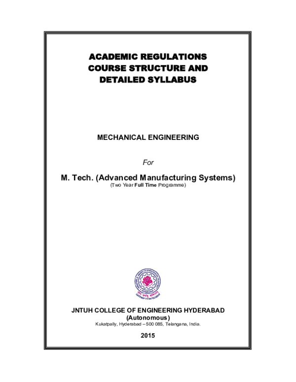 PDF) ACADEMIC REGULATIONS COURSE STRUCTURE AND DETAILED