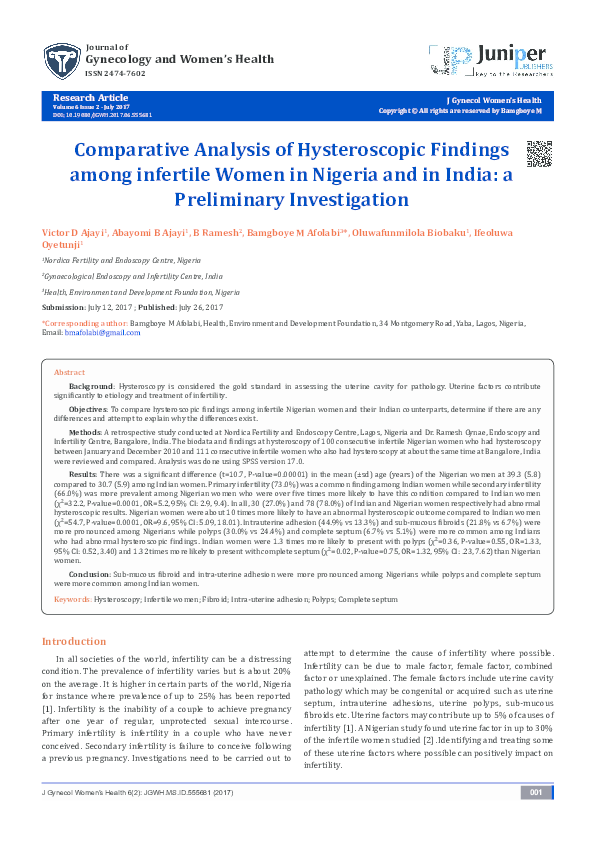 PDF) Comparative Analysis of Hysteroscopic Findings among
