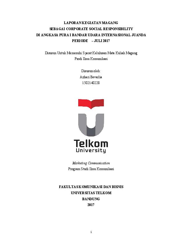 Contoh Laporan Kerja Praktek Teknik Informatika Telkom University Kumpulan Contoh Laporan