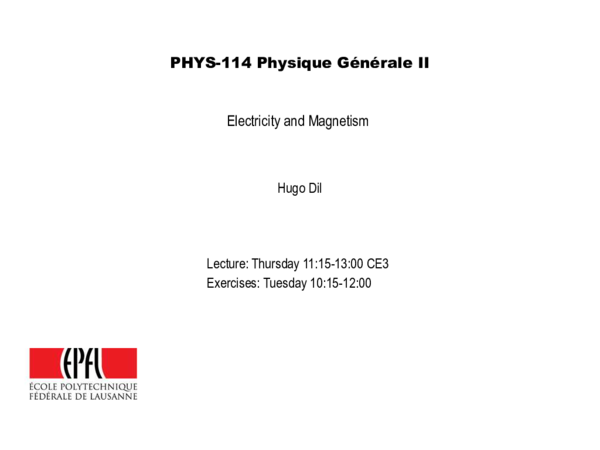 PDF) PHYS-114 Physique Générale II Electricity and Magnetism   Lucas