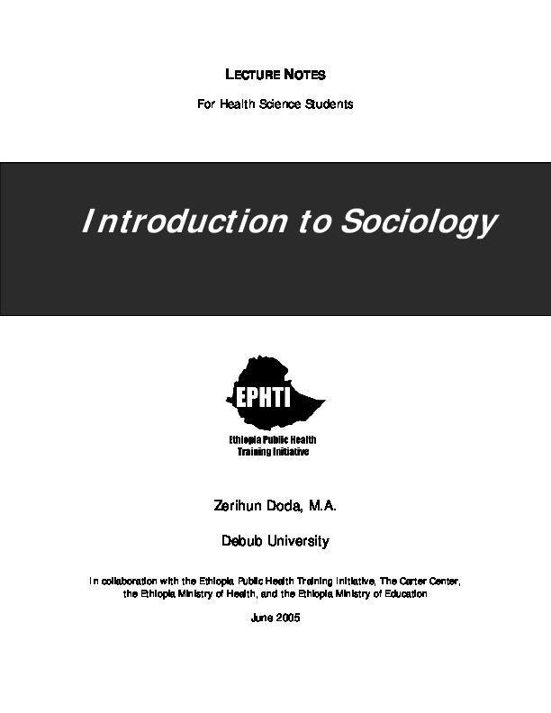 PDF) LECTURE NOTES Introduction to Sociology | bantu ndlovu