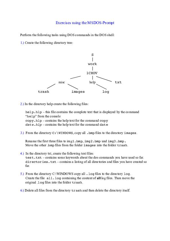 PDF) Exercises using the MSDOS-Prompt | John Rey Sebastian