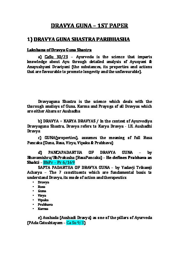 PDF) DRAVYA GUNA – 1ST PAPER | Francisco Santos - Academia edu