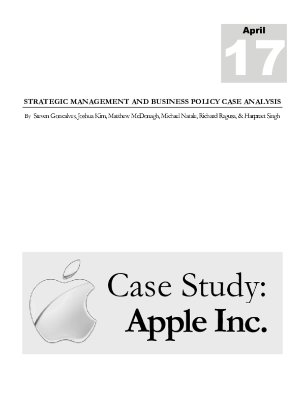 DOC) 2012 Case Study: APPLE INC  | Michael A  Natale and Joshua Kim
