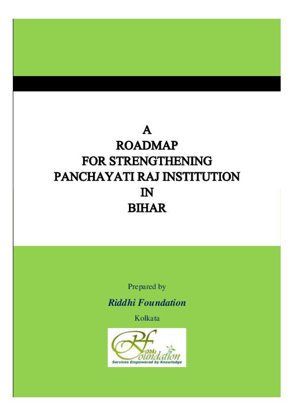 PDF) A Roadmap for Strengthening Panchayati Raj Institutions