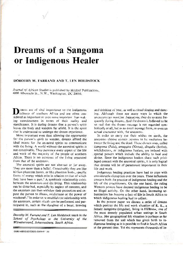 PDF) Dreams of a Sangoma or Indigenous Healer | T L