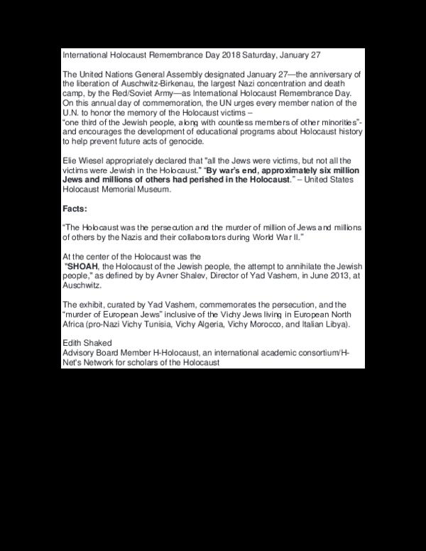 DOC) International Holocaust Remembrance Day 2018 Saturday docx