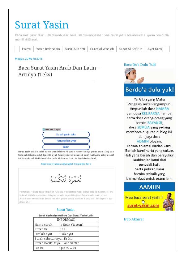 Pdf Baca Surat Yasin Arab Dan Latin Artinya Teks Surat