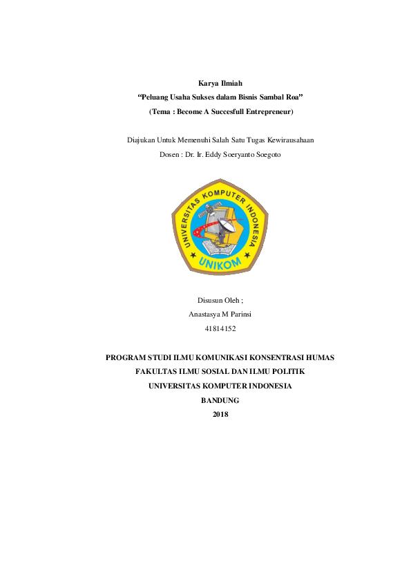 Doc Karya Ilmiah Peluang Usaha Sukses Dalam Bisnis Sambal Roa Tema Become A Succesfull Entrepreneur Anastasya M Parinsi Academia Edu