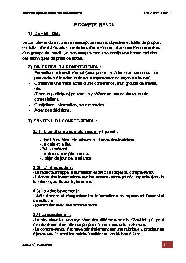 (PDF) Méthodologie de rédaction universitaire Le Compte ...