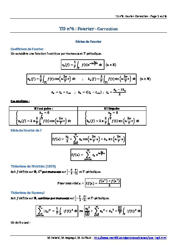 Pdf Td N 6 Fourier Correction Series De Fourier Coefficient De Fourier Claude Bernard Academia Edu