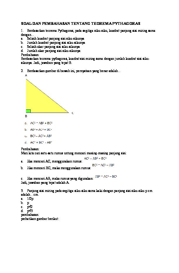 Contoh Soal Yang Berkaitan Dengan Teorema Pythagoras Kumpulan Soal Pelajaran 5