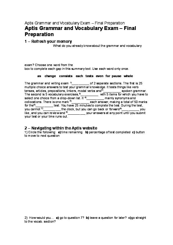 PDF) Aptis Grammar and Vocabulary Exam – Final Preparation