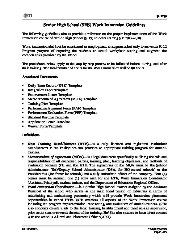 Pdf Senior High School Shs Work Immersion Guidelines