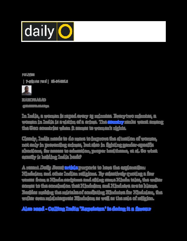 DOC) The Daily Beast and Hinduism docx   Hari Prasad
