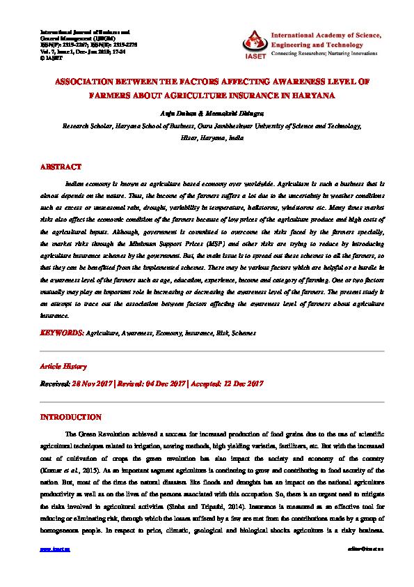 PDF) ASSOCIATION BETWEEN THE FACTORS AFFECTING AWARENESS