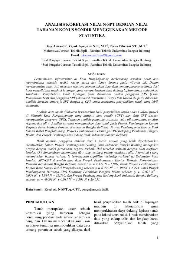 Pdf Analisis Korelasi Nilai N Spt Dengan Nilai Tahanan Konus Sondir Menggunakan Metode Statistika Desy Arisandi Academia Edu