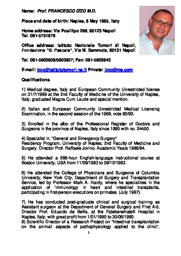 DOC) CV Prof Francesco Izzo MD 2018 docx | Francesco Izzo