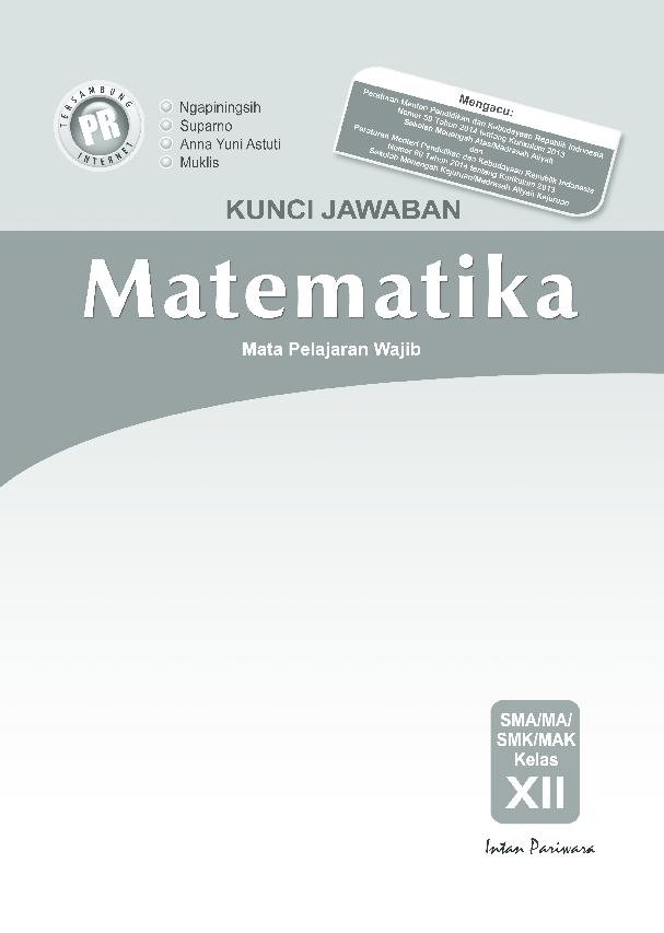Pdf Kunci Jawaban Intan Pariwara Kelas 12 Matematika Wajib
