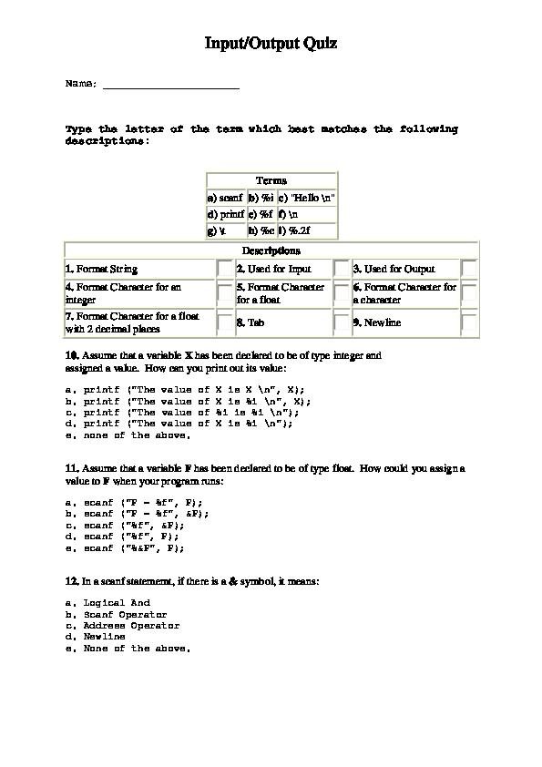 PDF) Input/Output Quiz   aseel jaber - Academia edu