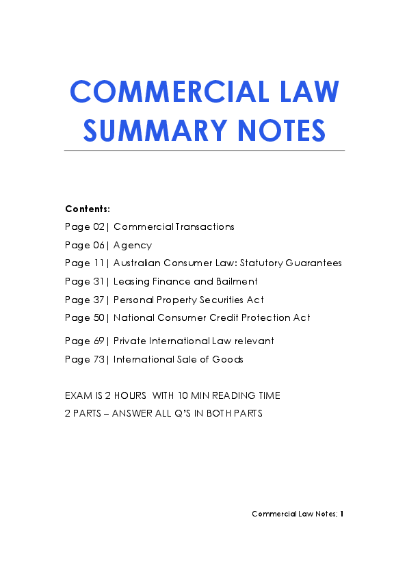 PDF) Commercial Law Notes