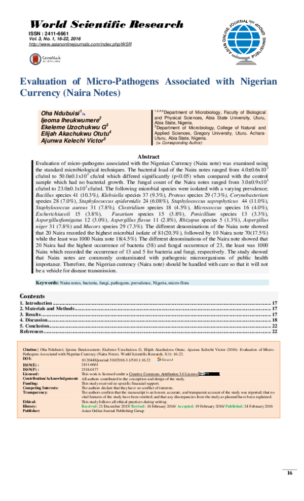 PDF) Evaluation of Micro-Pathogens Associated with Nigerian Currency