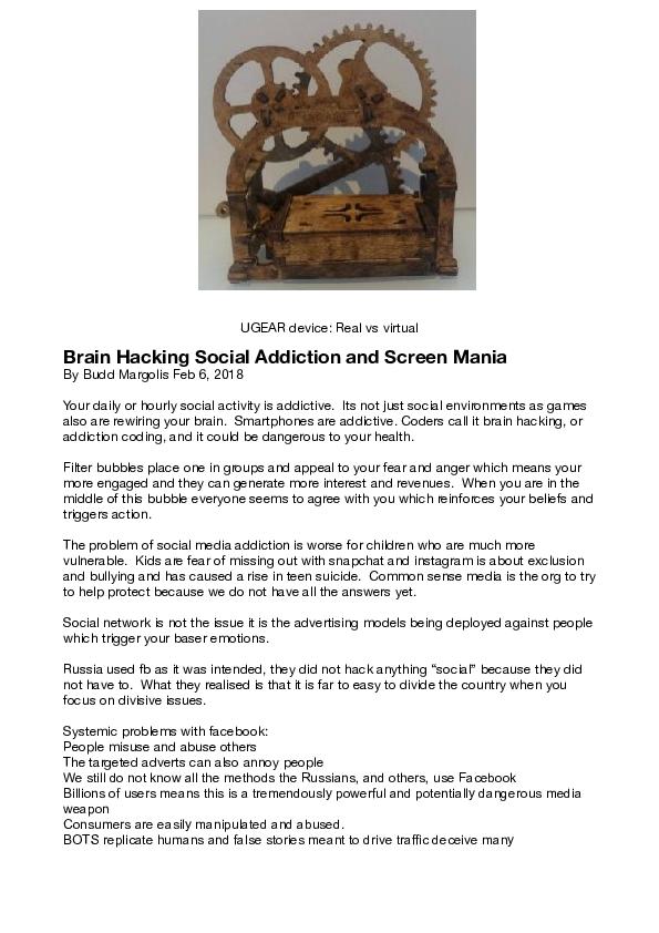 PDF) Brain Hacking Social Addiction and Screen Mania   Budd Margolis