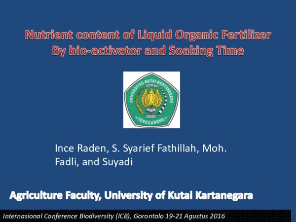 PDF) Nutrien Content of Liquid Organic Fertilizer (LOF) By