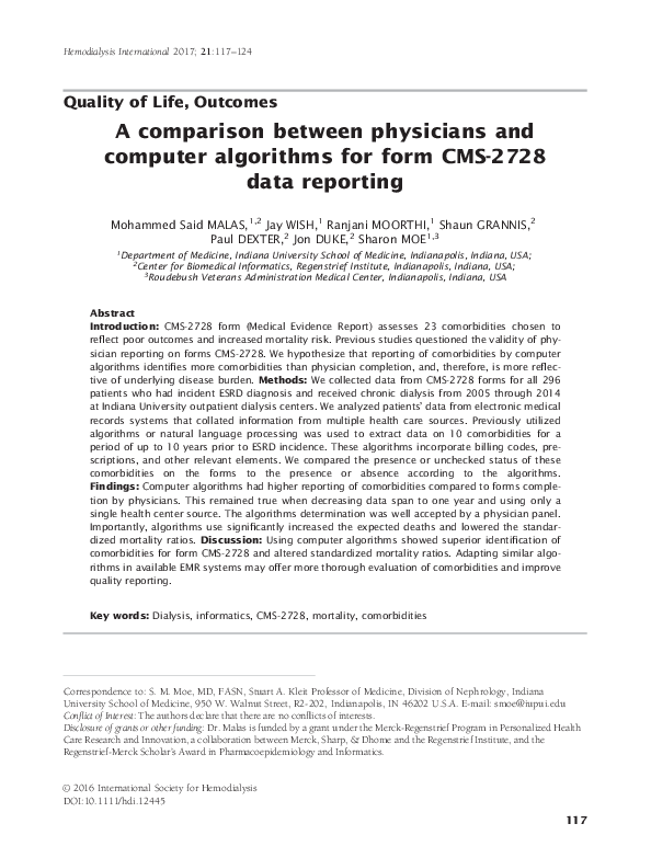 PDF) A comparison between physicians and computer algorithms for