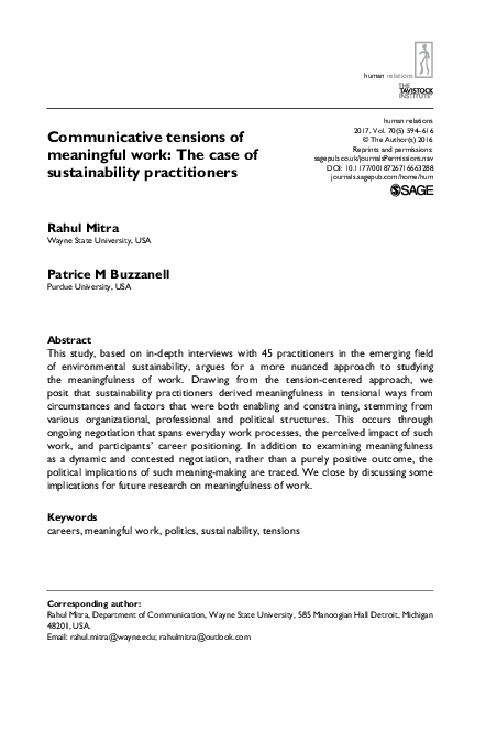 Pdf Communicative Tensions Of Meaningful Work The Case Of Sustainability Practitioners Rahul Mitra And Patrice M Buzzanell Academia Edu