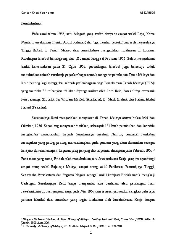 Pdf Perjanjian Persekutuan Tanah Melayu 1957 Chew Yee Herng Carlson Academia Edu