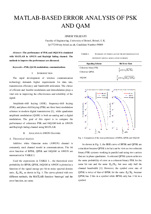 PDF) Report-MATLAB-BASED ERROR ANALYSIS OF PSK AND QAM