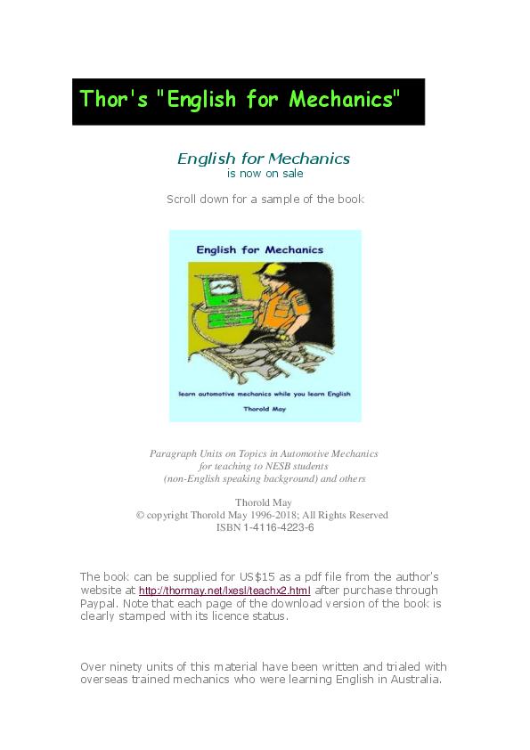 PDF) English for Mechanics | Thorold (Thor) May - Academia edu