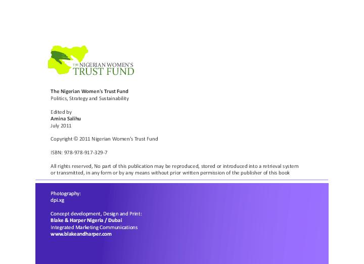 PDF) The Nigerian Women's Trust Fund Politics, Strategy and